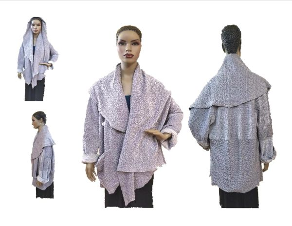 Gray popcorn one of a kind asymmetrical jacket-stretch velvet