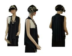 Limited black vest with tie dye application and matching hat