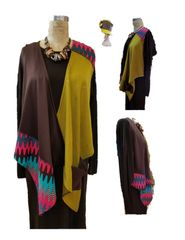One of kind choclate/mustard/pink vest