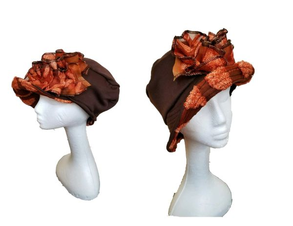 Chocolate brown Babbitt brim tipped with burn out silk