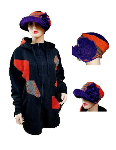 One of a kind jacket & matching hat - sold separately