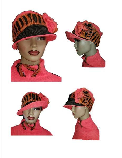 Coral/black/golden brown Babbitt Brim - wearable art!