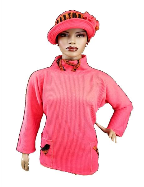Coral organic cotton tunic - Babbitt Brim sold separately- wearable art!