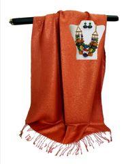Burnt orange metalic shawl