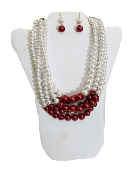 Beautiful deep red & white strands of pearls
