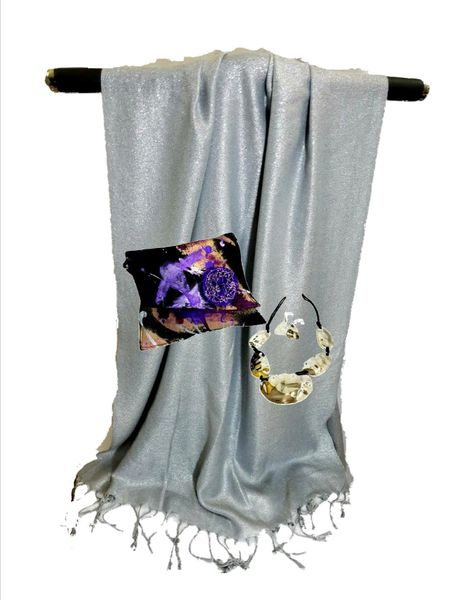 silver metalic shawl - gorgeous - displayed with handed painted purse & silver necklace/earrings which are sold separately