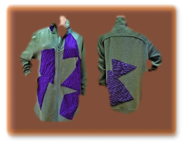 Olive and purple zip medium weight jacket swatched with purple pucker
