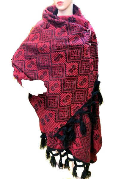 Black & Red gorgeous shawl with fringe