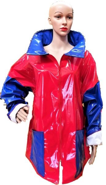 Red & cobalt rain jacket