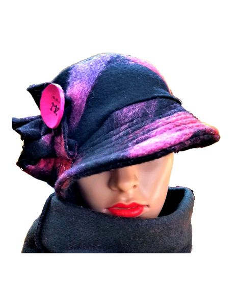 Gorgeous pink, purple and black wool Babbitt brim