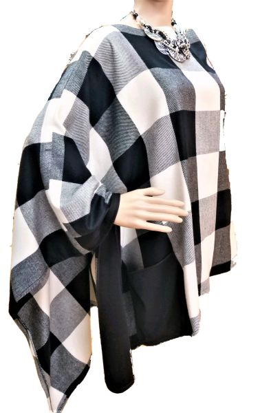 Hounds tooth asymmetrical poncho...SOLD!
