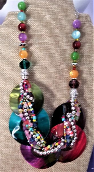 Multi colored beads & shell necklace