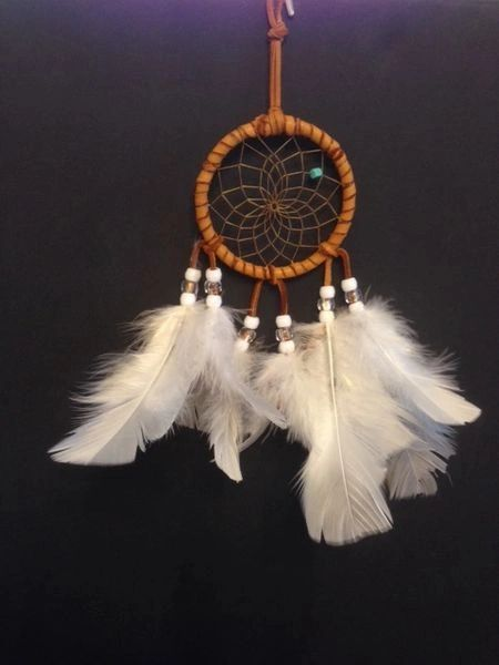 Colorful White and Clear Authentic Cherokee Dream Catcher