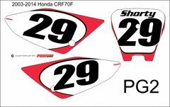 Honda 2004-2015 CRF70F PG2 Numberplate Decals