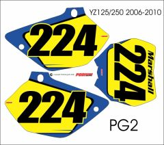Yamaha YZ125/250 2002-2014 PG2 Numberplate Decals