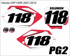 Honda 2007-2016 CRF150R PG2 Numberplate Decals