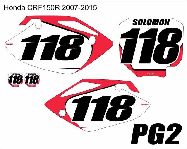 Honda 2007-2016 CRF150R PG2 Numberplate Decals