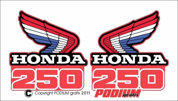 Honda CR250R 1986 Rad Shroud Reproduction Decals