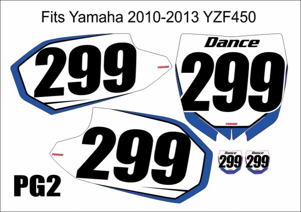 Yamaha YZF450 2010-2013 Numberplate Decals PG2