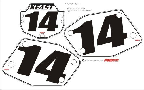 Rox PG1 Numberplate Decals 3 Piece