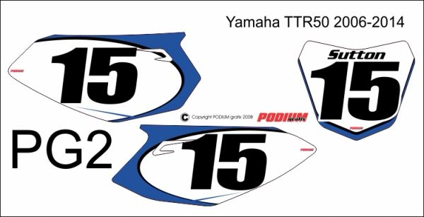 Yamaha 2006-2015 TTR50 PG2 Numberplate Decals