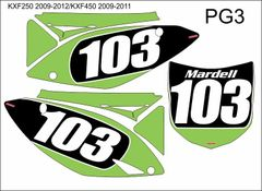 Kawasaki KXF250 2009-2012/KXF450 09-11 PG3 Numberplate/Airbox Decals