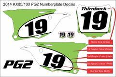 Kawasaki 2014+ KX85/100 PG2 Numberplate Decals