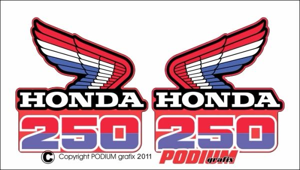 Honda CR250R 1985 Rad Shroud Reproduction Decals