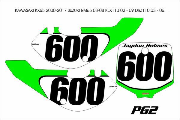 Kawasaki KX65 2000-2017 PG2 Numberplate Decals