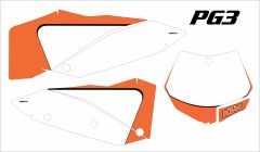 KTM SX/SXF 2007-2010 and 2008- 2011 EXC/XCW Numberplate Decals PG3