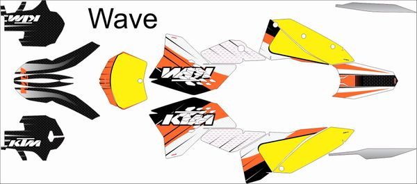 KTM SX/SXF 2007-2010 and 2008- 2011 EXC/XCW WAVE Full Graphics kit