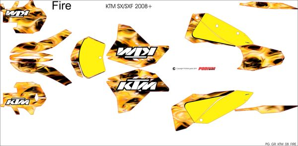 KTM SX/SXF 2007-2010 and 2008- 2011 EXC/XCW FIRE Full Graphics kit