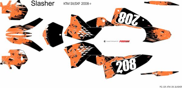 KTM SX/SXF 2007-2010 and 2008- 2011 EXC/XCW SLASHER Full Graphics kit