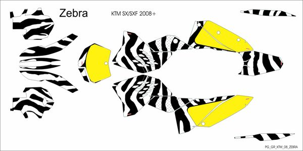KTM SX/SXF 2007-2010 and 2008- 2011 EXC/XCW ZEBRA Full Graphics kit