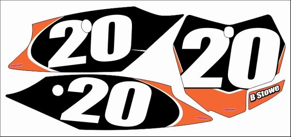 KTM Full Size 2013-2015 SX/SXF 2013-2016 250SX PG2 Numberplate Decals
