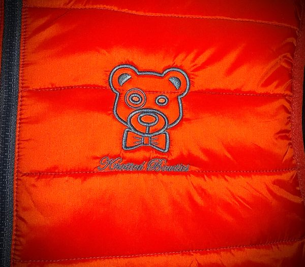 Knotted the Bear Puff Vest Orange