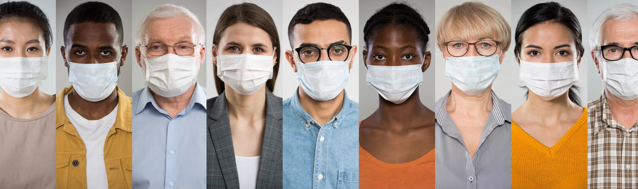 multi-ethnic Americans all wearing surgical masks.