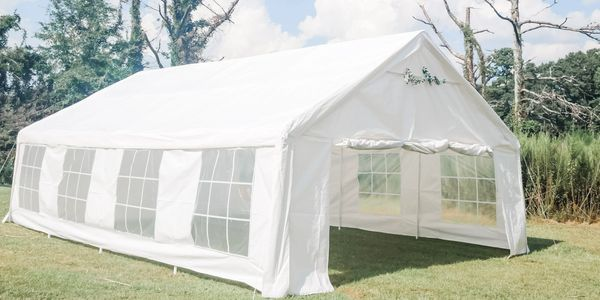 tent outdoors with walls for parties