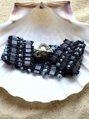 Blue tila bead cuff bracelet