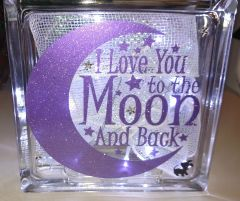 Love You To The Moon Decorated Glass Block