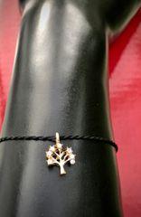 Small Gold Rhinestone Tree of Life String Bracelet