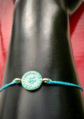 Blue Stone and Rhinestone Circle String Bracelet