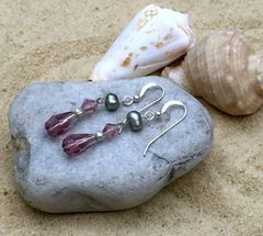 Mauve and Gray Crystal/Pearl Dangle Earrings