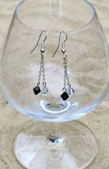 Night and Day Crystal Chain Dangle Earrings