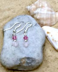 Rose Quartz Hearts and Crystal Dangle Earrings