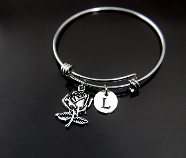 Silver Rose Charm Bracelet Personalized Bracelet