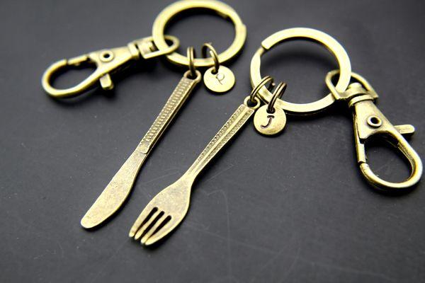 Bronze Fork Charm Knife Charm Keychain