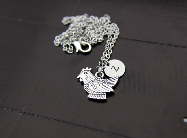 Silver Chicken Charm Necklace
