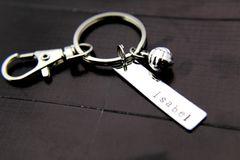 Silver Volleyball Charm Keychain