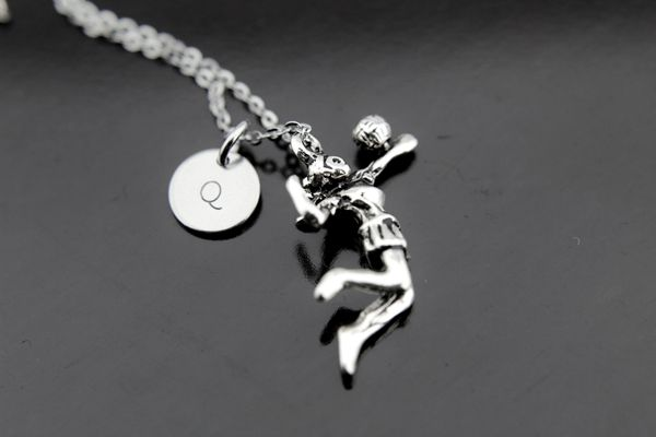 Silver Volleyball Charm Necklace